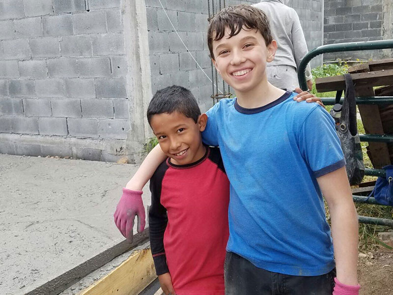 Kids working on the jobsite in Mexico
