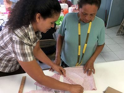 Oralia teaching sewing in Reynosa