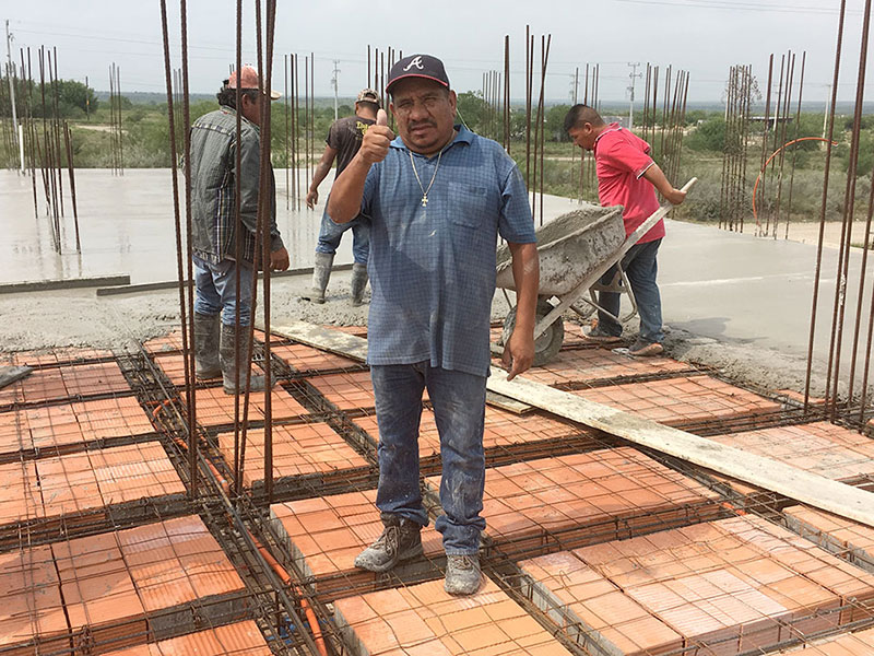 Our foreman Luz during the roof pour of the community center in Miguel Aleman