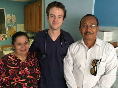 Our intern Taylor with nurse Betty and Doctor Joaquin at the medical clinic in Reynosa