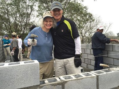 Laying blocks to build a house in Reynosa