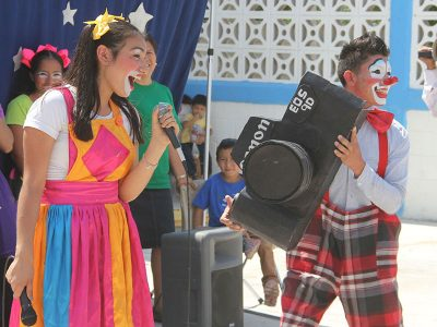 The students from Monterrey performing a skit for Childrens Day in Reynosa