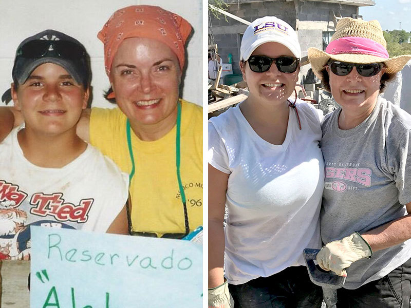 Amy and her mom on mission trips in Mexico throughout the years